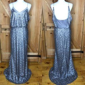 badgley mischka   silver sequin gown